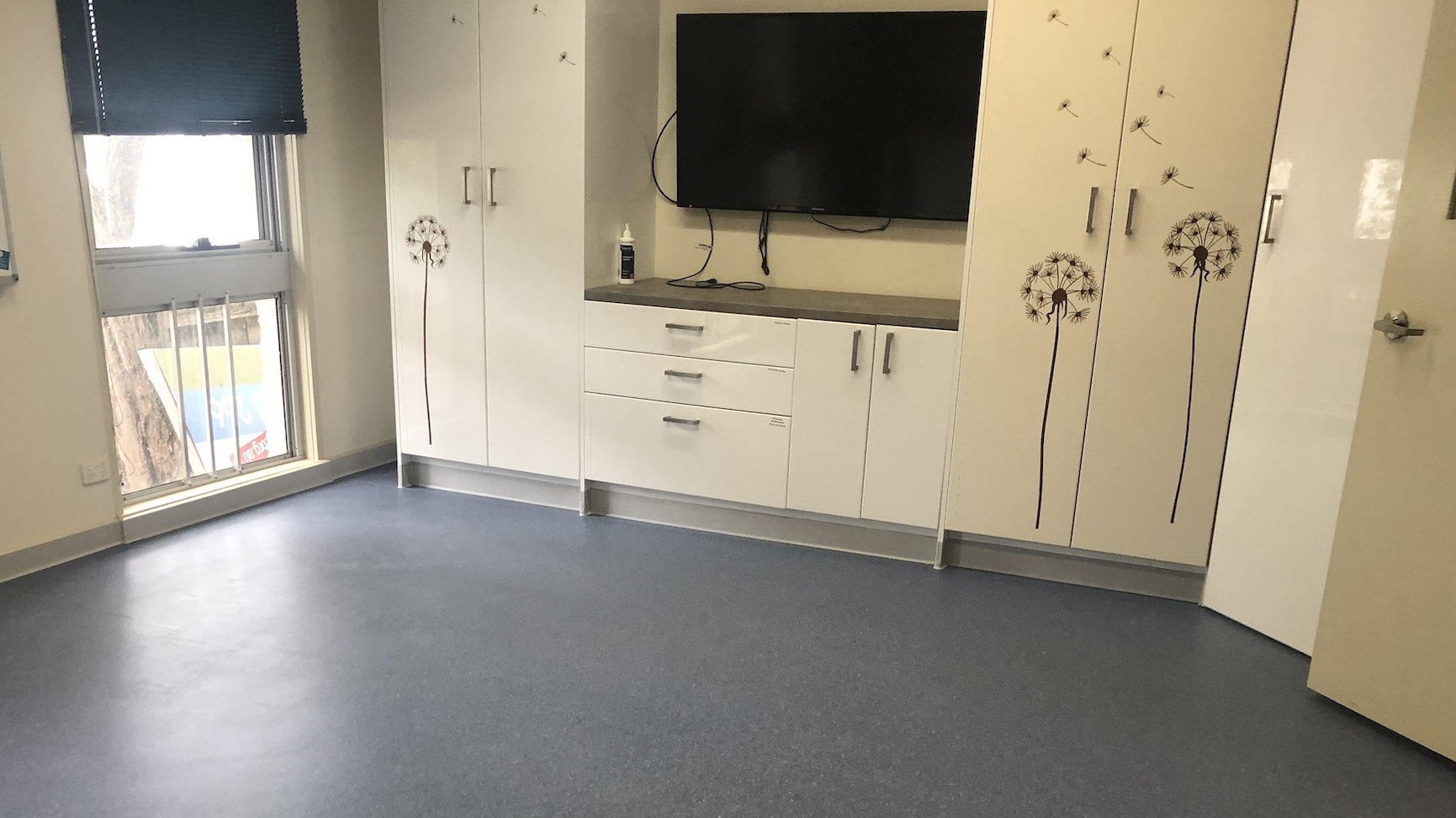 The flooring newly installed in a pop-up COVID-19 clinic in Ringwood