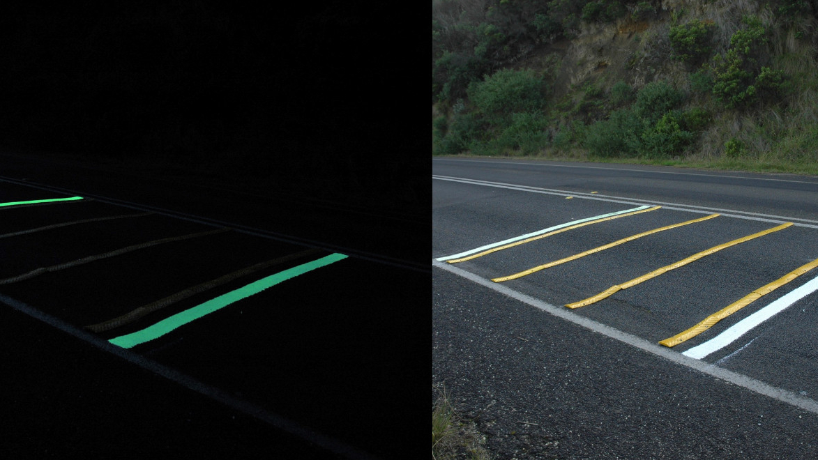 SmarterLite and Safety Path's road markings at work at night and by day. The non-photoluminescent markings are a regular rumble strip and ordinary road markings.